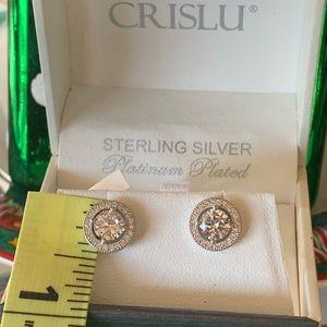 Crislu! Brilliant Cut Halo Earrings
